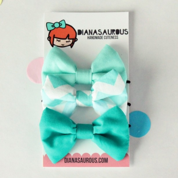 small hair bow set of three aqua chevron teal