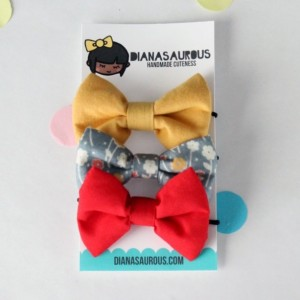 small hair bow set of three mustard gray floral and red