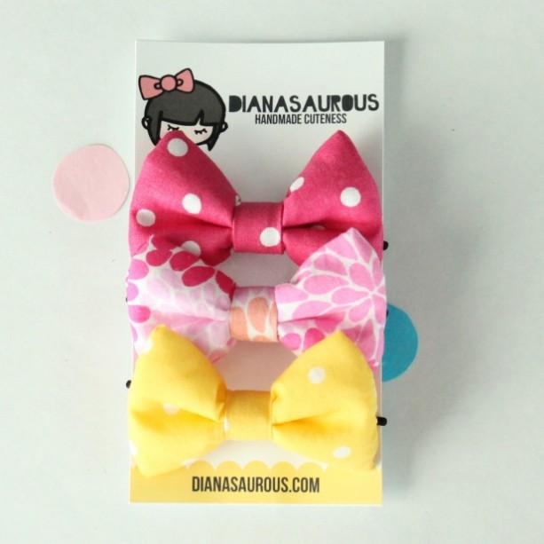 small hair bow set of three pink floral yellow pink polka dot