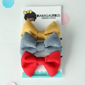 small hair bow set of three mustard chambray red