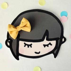 small hair bow set of three mint mustard chambray