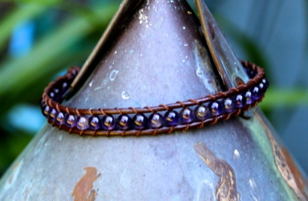Brown Leather Bracelet with Amethyst Beads