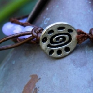 Brown Leather Bracelet with Light Purple Glass Beads
