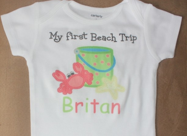 Personalized First Beach trip baby bodysuit or toddler shirt