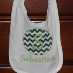 Personalized Bib Blue & Green Chevron