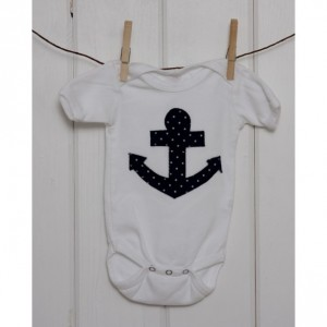 Unisex White Onesie with Navy Anchor