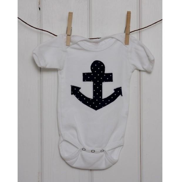 Unisex White Onesie with Navy Anchor