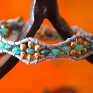 Grey Leather Bracelet with Glass Beads