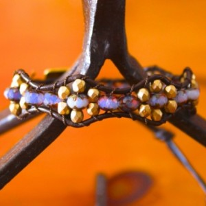 Brown Leather Bracelet with Glass Beads