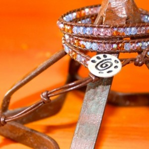 Brown Leather Wrap Bracelet with Mixed Glass Beads