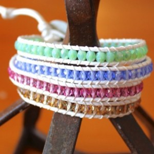 White Leather Wrap Bracelet with Mixed Glass Beads
