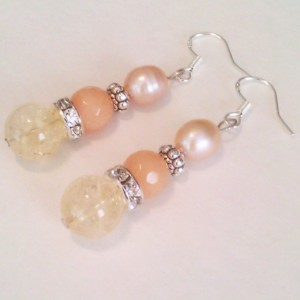 Natural stones earrings Natural citrine Natural Aventurine pink pearl 925 hooks