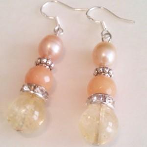 Natural stones earrings Natural citrine Natural Aventurine pink pearl 925 hooks