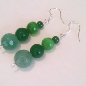 Natural stones earrings green Aventurine Natural Emerald mexican opal