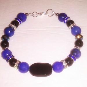"Natural stones bracelet black onyx blue Jade black Agate 8 5/8"""