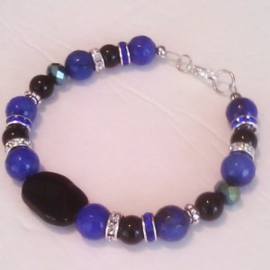 Natural stones bracelet black onyx blue Jade black Agate 8 5/8""