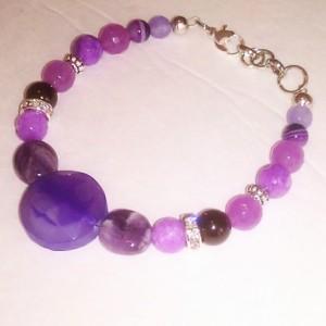 "Natural stones bracelet Madagascar Natural Amethyst purple Jade Alexandrite 7 1/2"" - 8 3/8"""