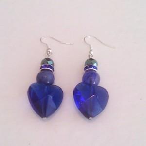 Sapphire color Quartz glass heart and blue Jade earrings
