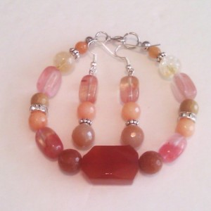 Natural stones bracelet and earrings set orange Agate Natural Jade Natural citrine Aventurine picture Jasper orange Jade