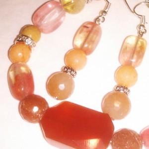 Natural stones bracelet and earrings set orange Agate Natural Jade Natural citrine Aventurine picture Jasper orange Jade