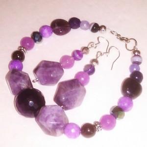 Natural stones bracelet and earrings set Madagascar chevron Amethyst Natural Amethyst purple Jade Alexandrite
