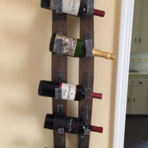 Rustic wall mount wine bottle rack, wine barrel wine rack, holder