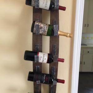 Rustic wall mount wine bottle rack, wine barrel wine rack, holder