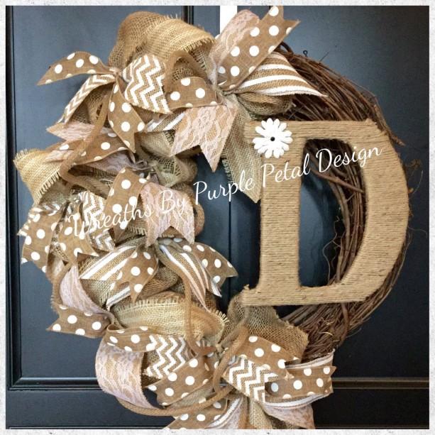 Burlap Wreath Grapevine Wreath Monogram Wreath