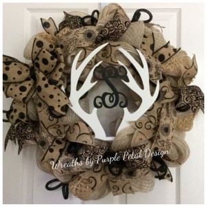 Summer Burlap Wreath Deer Antler Monogram Hunting Wreath Monogram Wreath Burlap Wreath