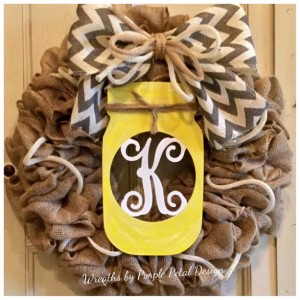 Summer Burlap Monogram Wreath Mason Jar Monogram Mason Jar Wreath Summer Wreath Burlap Wreath