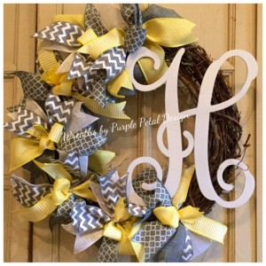 Monogram Wreath Grapevine Wreath Grey and Yellow Wreath Summer Wreath