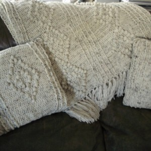 "Hand Crocheted Aran ""Irish Fisherman"" Style Afghan-- Beautiful and Cozy"