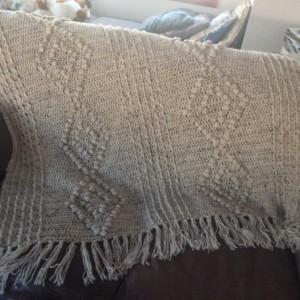 "Hand Crocheted Aran ""Irish Fisherman"" Style Afghan-- Beautiful and Cozy"