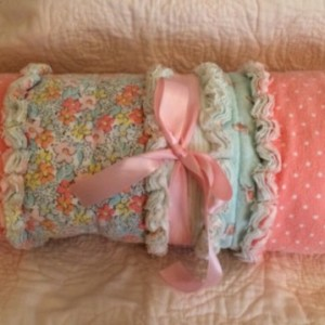 Baby Girl Rag Quilt, Crib Quilt, Carseat Blanket, Lap Quilt