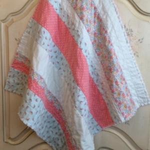 Baby Girl Rag Quilt, Crib Quilt, Carseat Blanket, Lap Quilt