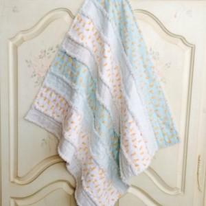 Baby Boy Fox Rag Quilt, Crib Quilt, Carseat Blanket, Lap Quilt, Shower Gift