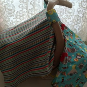 Infant Car Seat Cover Tent - Monster Cotton & Stripe Exterior, White Flannel Interior