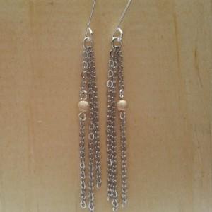 Gold Bead Fringe Earring