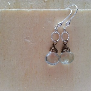 Aqua Quartz Drop Briolette Earring