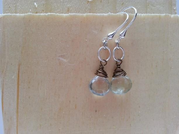 Aqua Quartz Drop Briolette Earring