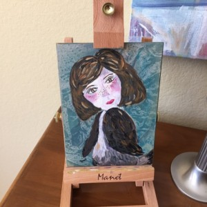Tiny Paintings - Birdgirl with Freckles