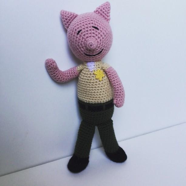 Crochet Amigurumi Police Deputy Sheriff Pig