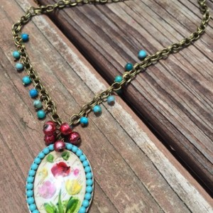 Boho Floral Necklace Vintage Inspired