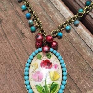 Boho Floral Necklace Vintage Inspired