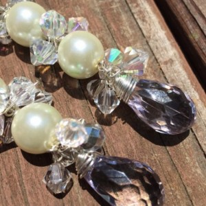 Gorgeous Pearl and Crystal Drop Earrings