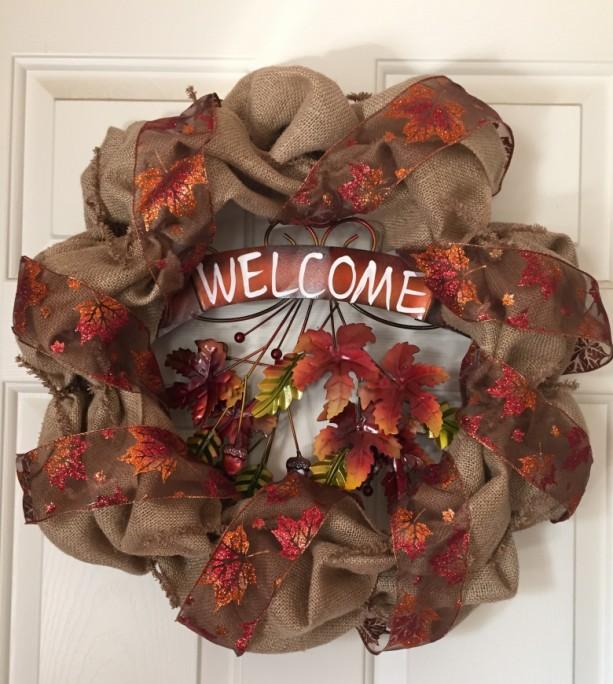 """""""Welcome"""" Leaf Wreath"""