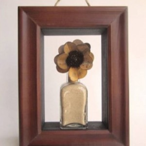 SOLD!!!! Apothecary Shadow Box , Antique Square Glass Bottle and Preserved Flower Wall Decor