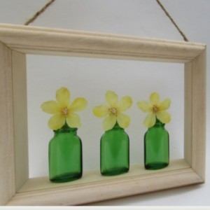 Shadow Box Art Green Glass Bottles and Yellow Silk Flower Wall Decor