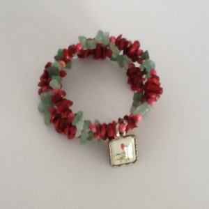 Red Coral and Green Aventurine Wire Wrap Bracelet with Bird Charm
