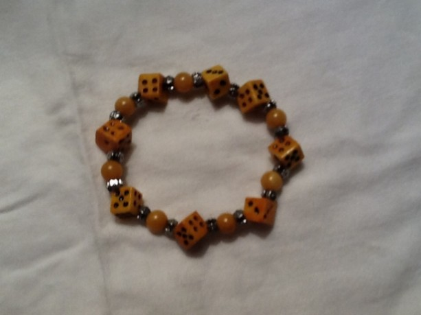Brown Stone and Dice Bracelet